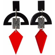Toolally - Half Moon Drops Black with Stone & Chilli Red (3.615 RUB) ❤ liked on Polyvore featuring jewelry, earrings, accessories, geometric earrings, retro jewelry, half moon earrings, red stone jewelry and stone jewellery