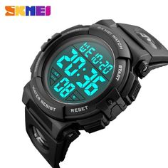 SKMEI Men LED Wristwatches Round Digital Electronic Mens Watch Waterproof For Men Sports Watches Relogio Masculino 1258 Mens Sport Watches, Watches For Men, Men's Watches, Luxury Watches, Fashion Watches, Mode Masculine, Relogio Casio Edifice, Top Luxury Brands, Silver Pocket Watch