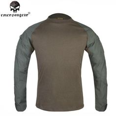 Emerson Combat Shirts Military Airsoft Round Collar Tactical Long Sleeve T-shirts Sports Hunting Paintball Clothing EM8517 OD