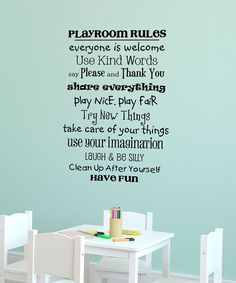 Black 'Playroom Rules' Wall Quote | Daily deals for moms, babies and kids