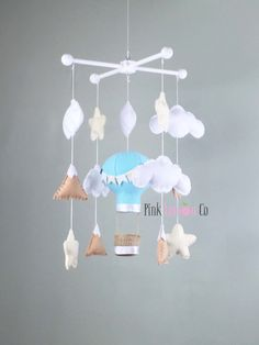 baby mobile hot air baloon baby mobile by PinkLemonCo on Etsy