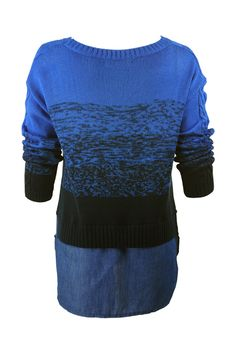 Cable Knit Gradient Color Blue Jumper #Romwe