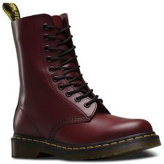 Dr. Martens Originals Leather Boots ($130) ❤ liked on Polyvore featuring shoes, boots, cherry red, leather boots, lace front boots, real leather knee high boots, real leather boots and stacked heel boots