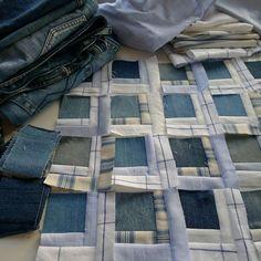 ' Denim love:  Quilt in progress. Denim with Ralph Lauren shirts. by Mia's Landliv (Norway)