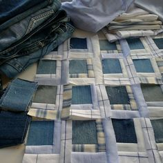 ' Denim love:  Quilt in progress. Denim with Ralph Lauren shirts. by Mia's Landliv (Norway)