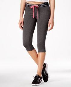 Material Girl Juniors' Active Drawstring Cropped Yoga Leggings, Only at Macy's - Black XL