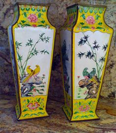Sale Vintage Stunning Chinese Enamel Vases/ by WhiteSwanTreasures, $495.00