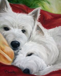 "Mary Sparrow Smith from Hanging the Moon – dog art, pets, portrait, paintings, gift ideas, home decor. Westie West Highland Terrier. ""Afternoon Nap"""