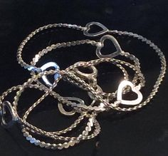 Unique Open Heart and Serpentine Link Sterling Silver Chain
