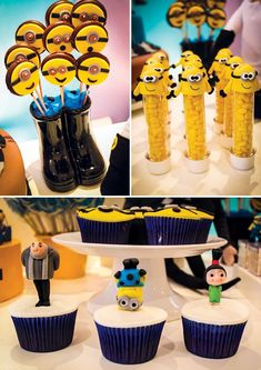 One in a Minion Birthday Party {Despicable Me} // Hostess with the Mostess® Minion Party Favors, Despicable Me Party, Party Treats, Minion Food, Minion Candy, Birthday Party Desserts, 4th Birthday Parties, Birthday Ideas, Minion Birthday