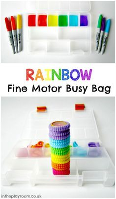 Rainbow fine motor busy bag, an easy and fun way for toddlers to learn colours, practice colour matching and work on their fine motor skills Indoor Activities For Kids, Motor Activities, Toddler Activities, Toddler Games, Toddler Play, Baby Games, Summer Activities, Family Activities, Preschool Crafts
