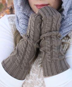 Long Knitted Fingerless Mittens