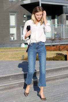 If you add just one piece of denim to your wardrobe for spring, make it a pair of cropped flare jeans. Mark our words, the kicky Audrey Hepburn-meets-Jane Birkin style is going to be everywhere this season. What to look for: straight-leg jeans in a medium or dark wash with a cropped hem that shows off your cute ankles. They look great with a blazer or simple sweater, but once the weather warms up, try them with a basic T-shirt. For shoes, pair them with booties or chunky pumps right now, and…