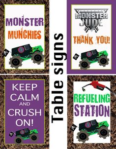 Printable Monster Truck Table Signs