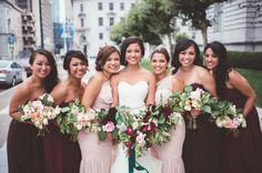 burgundy bridesmaid dresses - photo by Encarnacion Photography…