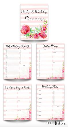 4 Free Printable Floral Daily & Weekly Planner Pages - Cassie Scroggins To Do Planner, Daily Planner Pages, Free Planner, Happy Planner, Daily Planners, Planner Ideas, Daily Printable, Printable Planner Pages, Planner Stickers