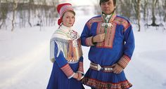 Sara Gaup is dressed for her confirmation in a traditional Kautokeino costume, with her father Nils Peder.