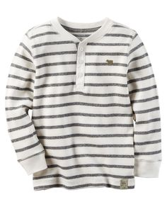 Add this boys' Carter's thermal henley tee to your little guy's wardrobe. Thermal Henley, Henley Tee, Thermal Shirt, Little Boy Outfits, Toddler Outfits, Kids Outfits, Carters Clothing, Kids Clothing, Kids Winter Fashion