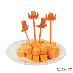 Give everything from cupcakes to cheese cubes Western style and flair with these fun plastic picks! The hit of any Western party buffet, each is topped with a ...