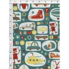 Primarily teal retro fabric depicting items and dreams belonging to a young boy. www.americasbestthreads.com