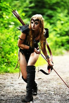 Being half Naked with thigh high boots makes Bow/Arrow more effective .... Distracts Enemy ....