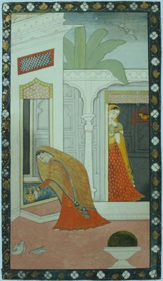 """""""From a dispersed manuscript Qisa Puran Bhagat by Qadirya. Kangra, circa 1830 ... An inscription ... in English to the reverse reads 'Rani Sundra' ... this was evidently written circa 1915 ... Rani Sundran (a.k.a. Sundaran), a character from the long poem Qisa of Puran Bhagat by Qadiryar, a poet known to be active during the rule of Maharaja Ranjit Singh ... the scribe or a previous owner must have been supplied the information"""":"""