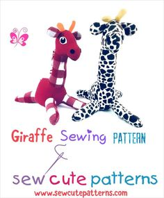 Giraffe pattern! Cute giraffe sewing pattern includes instructions and pattern pieces. Available for instant download. Visit Sew Cute Patterns at www.sewcutepatterns.com.
