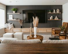 Home Living Room, Living Room Designs, Living Spaces, Oak Floating Shelves, Decoration, Family Room, Sweet Home, New Homes, House Design