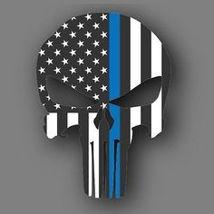 Punisher Blue Lives Matter Flag Police Die Cut Decal Sticker Car Truck 5""
