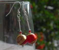 Red and Gold Murano glass Lakeland Sunset Pendant. A bespoke bead made for us by our artisan beadmakers in Venice. Jewellery handmade in the UK. Glass Earrings, How To Make Beads, Murano Glass, Sterling Silver Chains, Wind Chimes, Sunsets, Jewelry Collection, Handmade Jewelry, Artisan