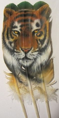 Hand Painted Triple Turkey Feather TIGER by AIRBRUSHTEXAS, $28.00 INCREDIBLE !! Feather Painting, Feather Art, Painted Pony, Hand Painted, Native American Wolf, Painted Feathers, Different Kinds Of Art, Tiger Art, Medicine Wheel