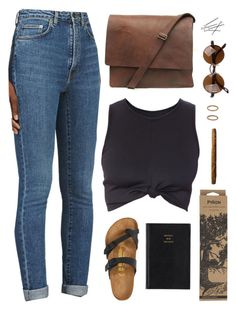 """Phaded"" by demirese ❤ liked on Polyvore featuring Yves Saint Laurent, Birkenstock, Forever 21, Prada and Jayson Home"