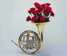 French horn w/ flowers Horn Instruments, Best Friends Aesthetic, Mellophone, Music Collage, Band Nerd, French Horn, Music Aesthetic, All About Music, Music Humor