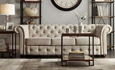 I like the shelves and wall treatment behind the sofa. (TRIBECCA HOME Knightsbridge Beige Linen Tufted Scroll Arm Chesterfield Sofa) New Living Room, Living Room Sofa, Living Room Furniture, Furniture Decor, Office Furniture, Vintage Modern, Vintage Air, Button Sofa, Beige Sofa