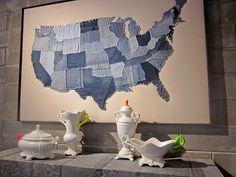 usa map made from blue jeans