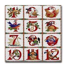 12 Days Of Christmas Tile #Coaster #Christmas #12DaysOfChristmas #Holiday #Gifts