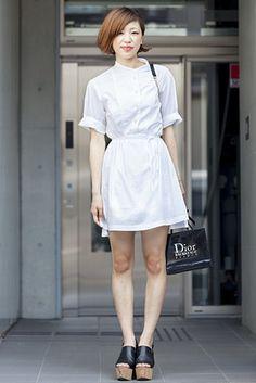 原宿(東京) Harajuku, TOKYO. Meri Hashimoto, student. Marc Jacobs dress, Opening Ceremony shoes, Dior bracelet. 【スライドショー】アジアの街角ファッションスナップ―バンコク、東京など