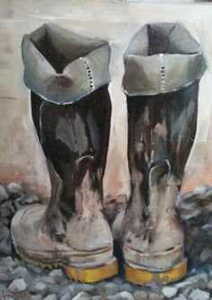 Muddy boots Acrylic painting