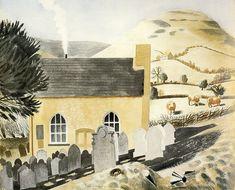 """Duke of Hereford's Knob by Eric Ravilious 1938 (Private Collection). Capel-y-ffin, Powys. Landscape Art, Landscape Paintings, Landscapes, Miss Moss, Magic Realism, Klimt, Graphic Illustration, Illustrators, Original Artwork"