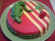 Sant Jordi cake via De Sucre Sugar Paste, Saint George, Ideas Para, Barcelona, Food And Drink, Birthday Cake, Cakes, Rose, Sweet