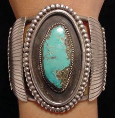 .Navajo old pawn turquoise silver concho bracelet