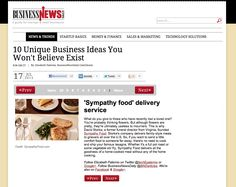 """Sympathy Food featured on Business News Daily for their """"10 Unique Business Ideas You Won't Believe Exist"""" article! www.SympathyFood.com/products #sympathygift #gifts #unique gift ideas #memorialgift"""