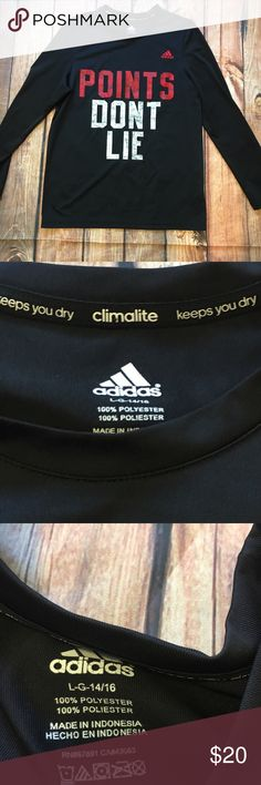 """Adidas climalite boys large long sleeve tee Adidas """"points don't lie"""" climalite long sleeve tee. In good condition. Keeps you dry.  Intended for boys but a girl can certainly wear this too. adidas Shirts & Tops Tees - Long Sleeve"""