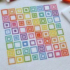 cross stitch kits Geometric Squares Cross Stitch Kit - Modern and Original Easy Cross Stitch on 14 Count Aida with DMC Thread - Easy Cross Stitch Patterns, Simple Cross Stitch, Modern Cross Stitch, Cross Stitch Designs, Cross Stitching, Cross Stitch Embroidery, Embroidery Patterns, Hand Embroidery, Dmc Cross Stitch