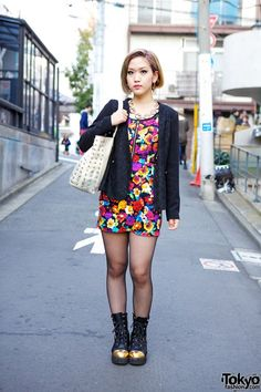 Ami is a beautician who we met on the street in #Harajuku. Her look features a floral ANAP minidress, H&M studded bag & LB-03 gold toe boots. Check all of Ami's snaps & info here! #tokyofashion #streetsnap