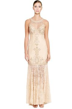 Sue Wong Embellished Lace Halter Gown