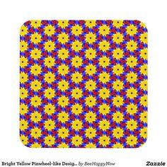 Bright Yellow Pinwheel-like Design on Coaster Set