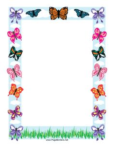 This butterfly border features a range of the colorful creatures, in tones of orange, blue, purple, and more, all fluttering through a sky full of puffy clouds. Free to download and print.