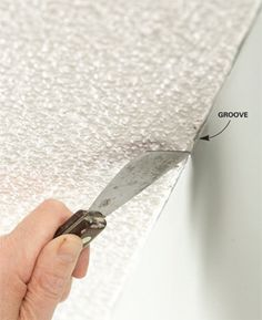 Groove textured ceiling edges:  Cutting a slight groove along textured ceilings with a putty knife leaves a smooth edge for your paintbrush to follow.  This way you don't have to tape and get a smoother line while cutting in.  Wish I would've known this trick before!!