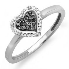 Thanks for Sharing!  0.15 Carat (ctw) Sterling Silver Round Black and White Diamond Ladies Promise Heart Love Engagement Ring - Dazzling Rock #https://www.pinterest.com/dazzlingrock/